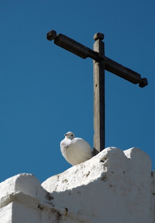 A white dove sitting under the cross of a church photo