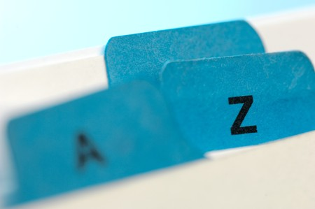 classifying: Blue file cards A and Z