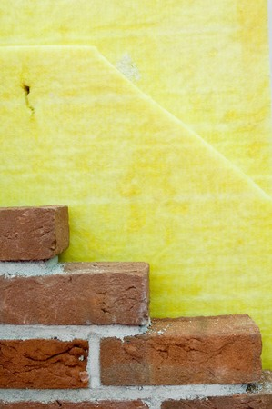 rock wool: Thermal insulation of a house wall Stock Photo