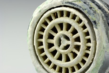 senile: Calcified sieve of a faucet in close up