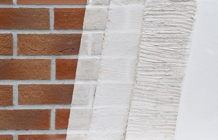 plastering: Sample of plastering layers at a house wall Stock Photo