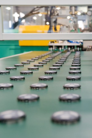 line up: Mass production of plastic parts