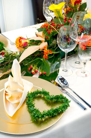 luxuriously: Luxuriously covered dining table Stock Photo