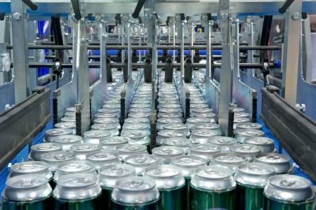 Filling of beverage cans Stock Photo