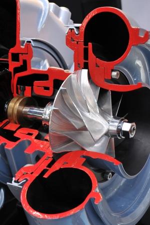 turbo: Cutaway model of a turbocharger Stock Photo