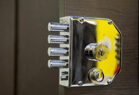Security door lock Standard-Bild