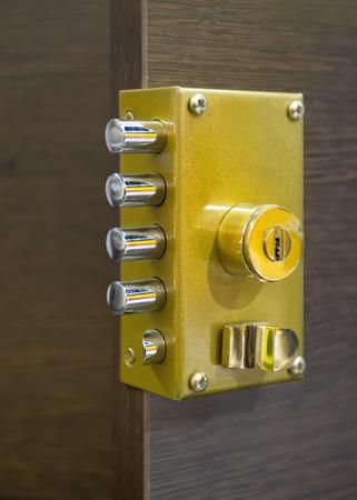 security door: Security door lock Stock Photo