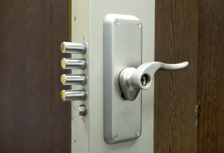 door bolt: Security door lock Stock Photo