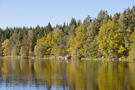 Autumn colors that reflects in the lake photo