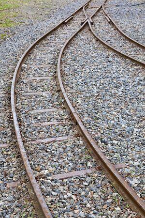 railtrack: Railway switch at the tracks Stock Photo
