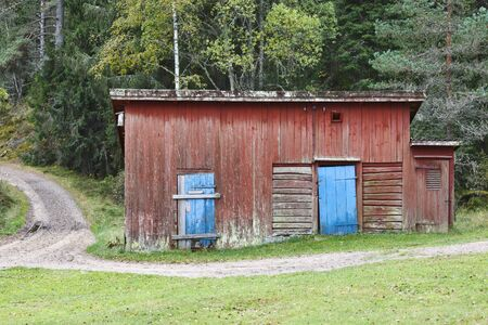 Red shed in the forest