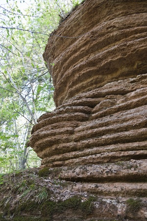 cliff face: Eroded cliff face in the woods Stock Photo