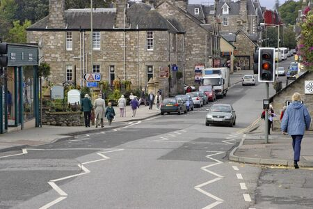 City street in a small village in Scotland