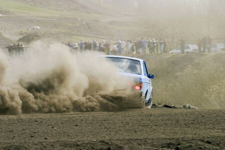 Rally car in a race