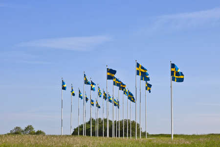 flagpoles: Swedish flags waving in the wind