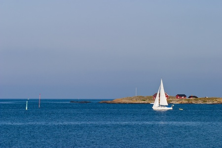 Sailboats in the summer archipelago Stock Photo