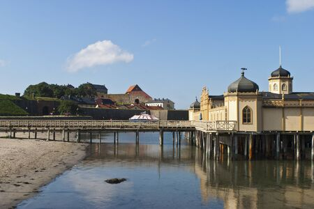 Public Cold baths house and a famous  fortress in Varberg, Sweden