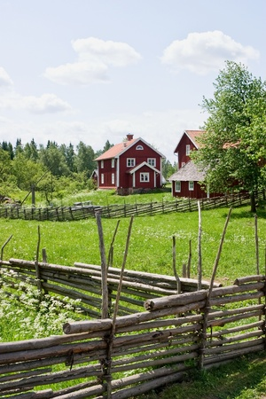 Wooden pole fence in a country landscape photo
