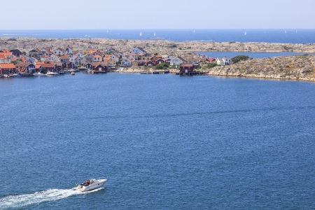 motorboat: Motorboat on the sea archipelago on the swedish west coast Stock Photo