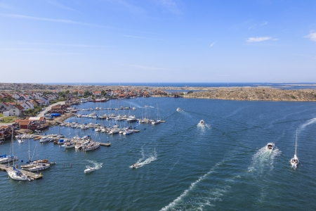 Boats at the sea archipelago on the swedish west coast photo