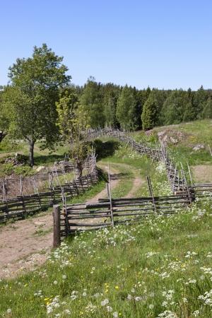 tierra fertil: Paisaje rural con vallas de madera alrededor de los campos Foto de archivo