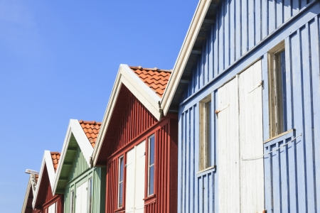 Coloured gables of the wooden sheds Stock Photo