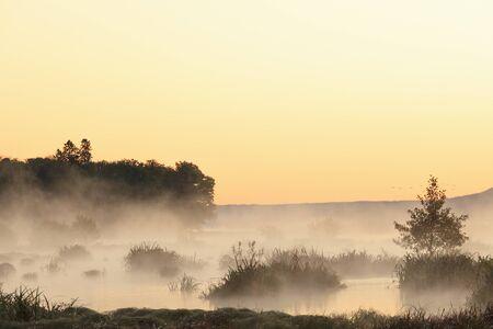 Misty sunrise over the lake photo