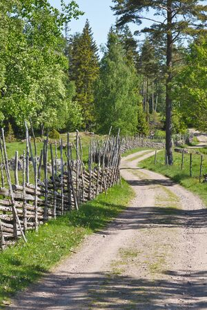 Gravel road in country side landscapes with a wooden fence Stock Photo - 14537067