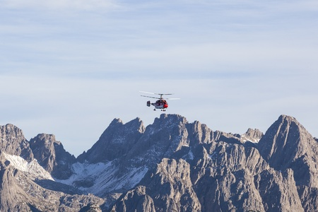osttirol: Helicopter flying over the mountains Stock Photo