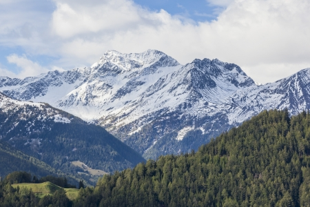 View of valley and mountains in the Alps