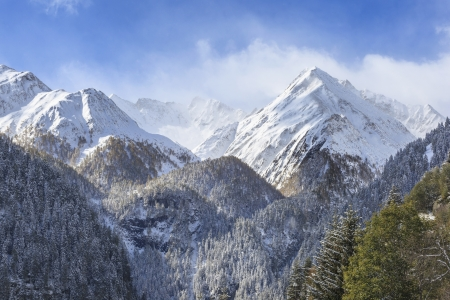Snowcapped mountain peaks and forests photo