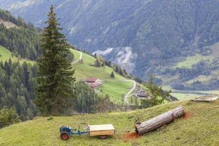 Timber log with a tractor on the field photo