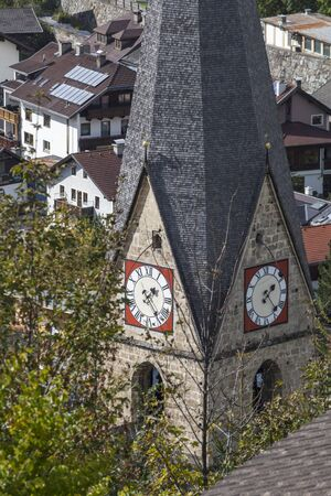 matrei: Church tower with a clock in Matrei Austria Stock Photo