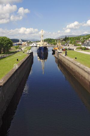 Ship in the lock, Caledonian canal