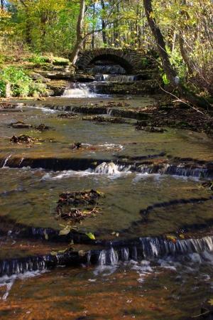 Small river with a stone bridge  photo