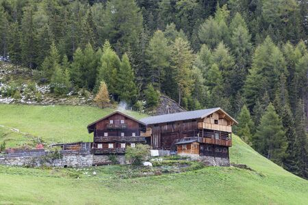 glanz: Old farm in the alp meadows Editorial