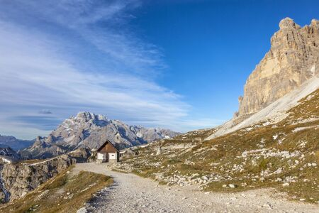 Chapel in Drei Zinnen Nature Park in Italy dolomites photo