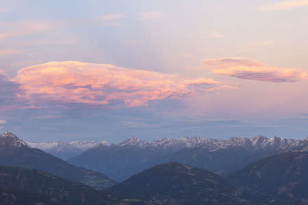 Sunset over the alp peaks photo