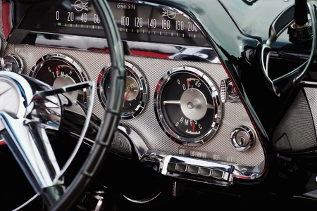 The interior in a convertible. Dodge Coronet 1959 版權商用圖片