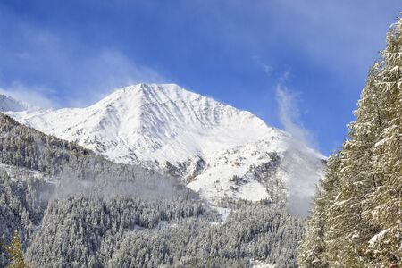 osttirol: Snowcapped mountain peaks and forests Stock Photo