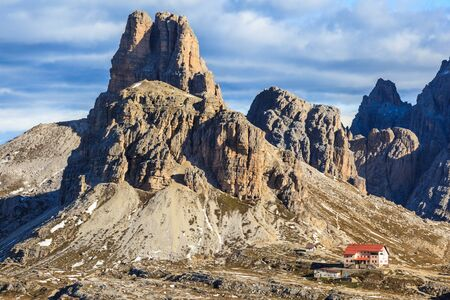 View of Drei Zinnen Nature Park in Italy dolomites photo