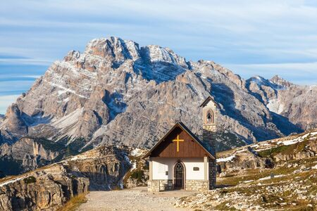 Chapel in Drei Zinnen Nature Park in Italy dolomites photo