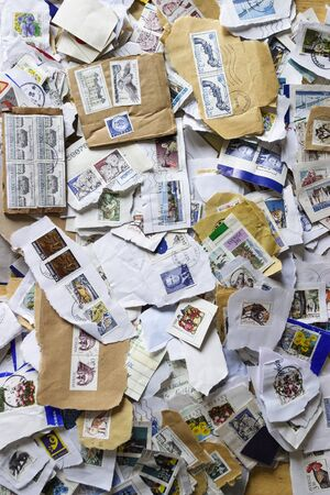mailed: Swedish postage stamps in a stack Editorial
