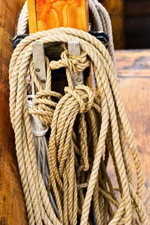 Rope hanging on the mast photo