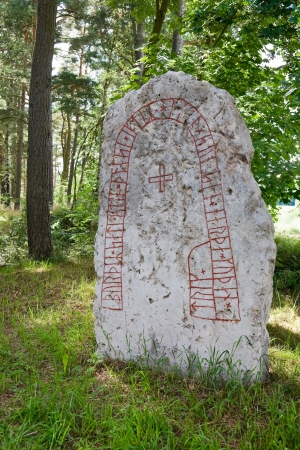 runes: Runes on an ancient rune stone from the Viking era