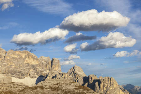 View of the Dolomites mountains in the evening light photo
