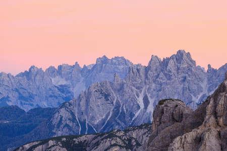 alpenglow: Mountain peaks in alpenglow in dolomites