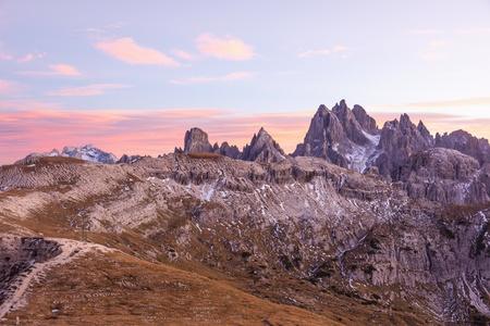alpenglow: Dolomites landscape in alpenglow Stock Photo