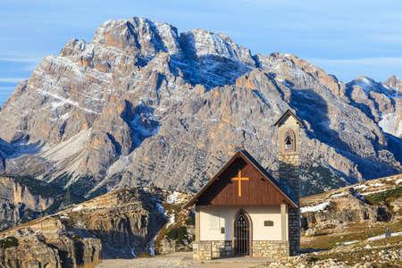 Chapel in  Tre Cime Di Lavaredo at Drei Zinnen Nature Park in Italy dolomites photo