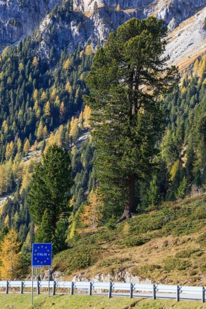 Land border between Austria and Italy in the Alps photo